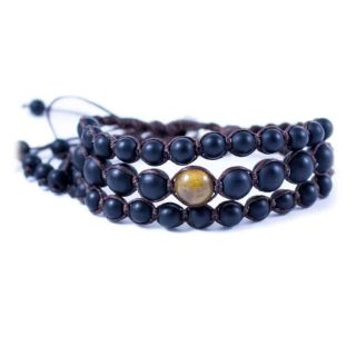 Three Line Bracelet with Onyx and Jasper | Norliden