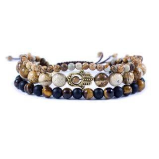 Three Line Bracelet with Tiger Eye, Onyx and Jasper Gold Tone Hamsa   Norliden
