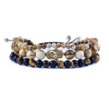 Three Line Bracelet with Tiger Eye, Onyx and Jasper Gold Tone Hamsa | Norliden
