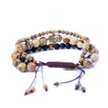 Three Line Bracelet with Tiger Eye, Onyx and Jasper Gold Tone Hamsa2 | Norliden