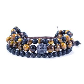 Three Line Bracelet with Tiger Eye, Onyx and Lava with CZ Bead   Norliden