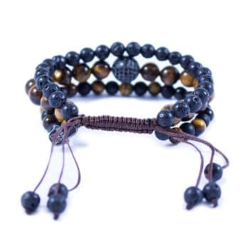 Three Line Bracelet with Tiger Eye, Onyx and Lava with CZ Bead2 | Norliden