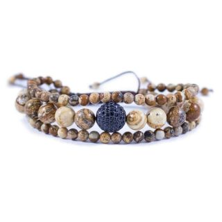 Three Line Jasper with Crystal Ball Bracelet | Norliden