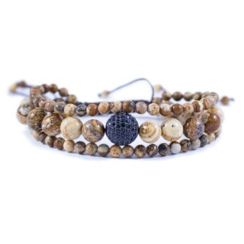 Three Line Jasper with Crystal Ball Bracelet | Norliden
