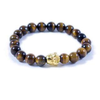 Tiger Eye Bracelet with Gold Tone Happy Buddha Charm | Norliden