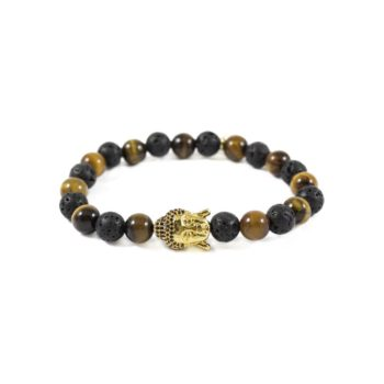 Tiger Eye and Lava with Gold Buddha Bead | Norliden