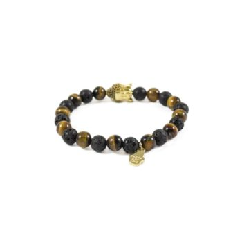 Tiger Eye and Lava with Gold Buddha Bead2 | Norliden
