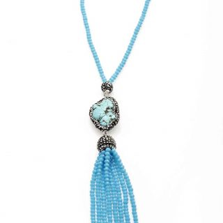 Turquoise Necklace with Crystal Tassel | Norliden